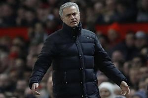 Manchester United manager Jose Mourinho reacts during his side's match against West Ham United.