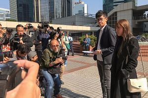 Mr Leung and Ms Yau (left) speaking to reporters yesterday after the Hong Kong Court of Appeal rejected their bid to overturn their disqualification from the Legislative Council, a fate that may now also meet Ms Lau (above).