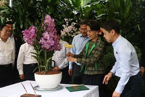 Ms Aung San Suu Kyi placing a tag on an orchid named Papilionanda Aung San Suu Kyi, with NParks CEO Kenneth Er (right) and Foreign Minister Vivian Balakrishnan (third from right), at the National Orchid Garden on Dec 1, 2016.