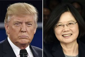 US President-elect Donald Trump in St. Louis, Missouri on Oct 9, 2016 and Taiwan's President Tsai Ing-wen in Panama City on June 27, 2016.