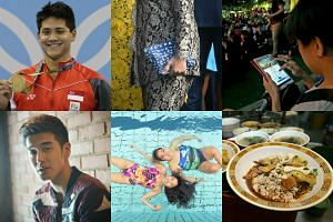 Top six moments: (clockwise from top left) Olympic gold medallist Joseph Schooling; Mrs Lee Hsien Loong's dinosaur pouch; Pokemon Go players in Hougang; bak chor mee from Hill Street Tai Hwa Pork Noodle; Paralympic swimmers Theresa Goh and Yip Pin Xi