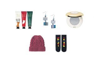 FOR HER: Gifts under $20. 1) Jeju Perfumed Hand Cream Christmas Gift Set 2) Cara Rectangular Wood Dangling Earrings 3) Over The Moon Infinite Impact Eye Shadow 4) Heattech Knit Cap 5) Ladies' Socks