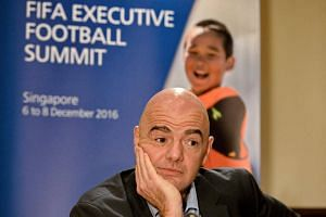 FIFA President Gianni Infantino attends a media briefing after the Fifa Executive Football Summit in Singapore on Dec 8, 2016.