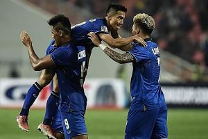 Thailand's Chanathip Songkrasin is chaired off after scoring against Myanmar during the AFF Suzuki Cup semi-final in Bangkok on Thursday. Reforming the domestic league has had a major flow-on effect.