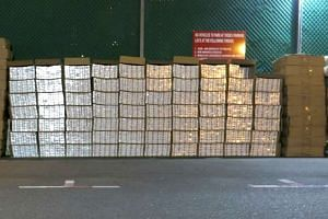 Cartons of duty-unpaid cigarettes seized by Singapore customs officers from a self-storage facility.