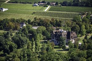 A birds-eye view of the Chateau de Chanteloup, where Martell holds corporate events, and vineyards in the Cognac region of France.