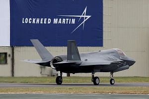 A RAF Lockheed Martin F-35B fighter jet taxiing after landing at the Royal International Air Tattoo in Fairford, Britain.