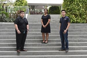 Mr Dino Tan (far left) said his course in space design technology has equipped him with essential workplace skills. Nur Sabrina Norazmi said ITE lecturers play a key role in helping students learn. ITE graduate Lim Hong Jin took a Technical Engineer