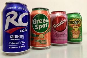 (From left) RC Cola, Green Spot, Sinalco and Kickapoo Joy Juice.