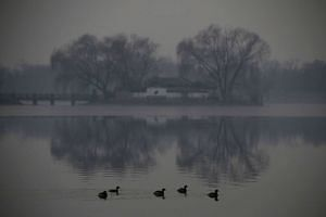 Old Summer Palace in smog on a polluted day as the authorities issued a red alert in Beijing, China, on Dec 17, 2016.