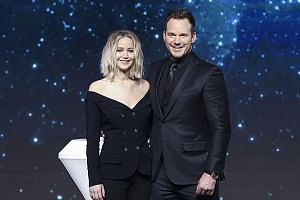 Jennifer Lawrence and Chris Pratt at the press conference.