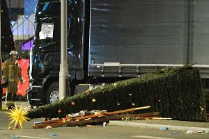 View of the truck that crashed into a Christmas market at Gedächniskirche church in Berlin on Dec 19, 2016.