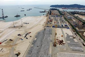 Land being reclaimed to expand Kuantan Port, which is central to the East Coast Rail Line project.