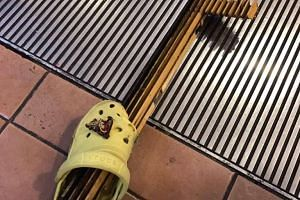 A metal piece broke off from an escalator step and pierced a young boy's Crocs shoe at AMK Hub last week. The incident happened on Dec 15 at about 1pm at Basement 2 of the heartland mall in Ang Mo Kio.