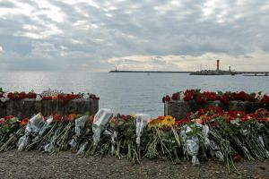 Flowers placed in memory of the passengers and crew members of the Russian military plane that crashed into the Black Sea on Dec 25, 2016.