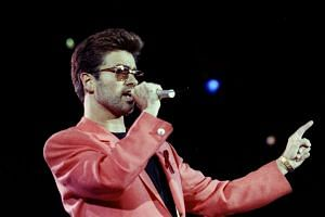 Singer George Michael performing at the Freddie Mercury Tribute Concert for Aids Awareness, at Wembley Stadium, in London, Britain, on April 20, 1992.