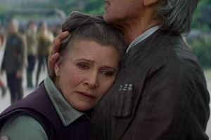 Actress Carrie Fisher reprises her role as an older Princess Leia, in Star Wars: The Force Awakens.