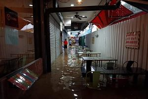 Eateries and shops along Upper Thomson Road were flooded last Saturday. Tenants said they racked up thousands of dollars in losses.