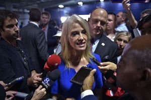 Trump campaign manager Kellyanne Conway speaking to reporters at president-elect Donald Trump's rally, on Nov 3, 2016.