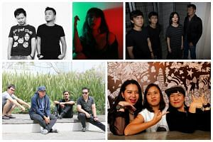 The five local acts performing at the 2017 Laneway music festival are: (clockwise from top left) Poptart DJs weelikeme and KiDG, singer-songwriter Sam Rui, indie rock band Astreal, DJ A/K/A (right, pictured with fellow members of DJ collective Attagi