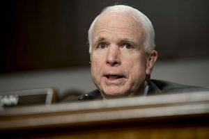 US Senator John McCain, Republican of Arizona and chairman of the Senate Armed Services Committee, during a hearing on Capitol Hill in Washington, DC, on Jan 4, 2017.