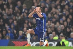 Chelsea's John Terry reacts after he is penalised for a challenge to earn a red card and be sent off  in FA Cup action on Jan 8, 2017.