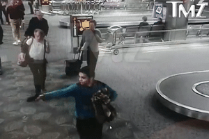 Iraq war vet Esteban Santiago strolled past some passengers before nonchalantly removing a gun from his waistband and shooting it, then running off the screen.