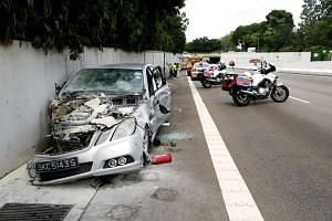 The wreckage of the Mercedez-Benz which drove against traffic on the AYE. Fines for motorists who drive recklessly or dangerously will be steeper under the new Road Traffic (Amendment) Bill.