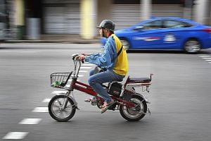 There are about 15,000 e-bikes in use here, according to figures from the Land Transport Authority. Registration of such personal mobility devices is set to begin in the middle of this year, the authority says.