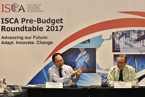 The pre-Budget roundtable was co-chaired by Mr Liang (left) and Mr Ee. The 15 members in the discussion said long-term economic transformation is key but businesses also need short-term help to tide over the current period of slow growth.