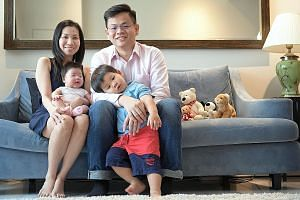 Ms Jen Wang with her husband Jeremy Goh, son Joshua and daughter Jill. A few months after Ms Wang became pregnant with her second child last year, she was diagnosed with stage 4 colon cancer. After discussing her options with her husband, she decided