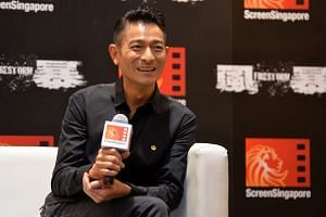 Andy Lau promoting his movie Firestorm in Singapore on Dec 4, 2013.