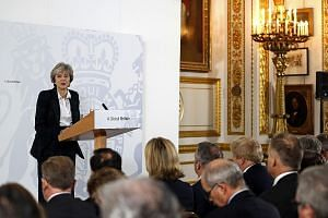 British Prime Minister Theresa May delivering a speech at Lancaster House in London yesterday on the government's plans to leave the European Union's single market. Mrs May has said that she will invoke Article 50 of the Lisbon Treaty to begin the Br