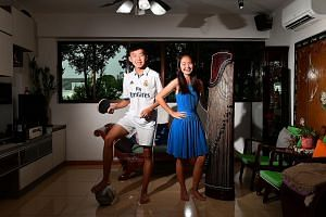 Nicholas, 14, picked up table tennis at age six and recently started playing football too. His sister Jerica, 17, has been playing the guzheng since she was in Primary 1.
