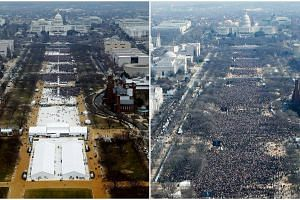 A combination of photos taken at the National Mall shows the crowds attending the inauguration ceremonies to swear in US President Donald Trump at 12:01pm (left) on Jan 20, 2017 and President Barack Obama on Jan 20, 2009, in Washington, DC.