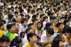 Pupils in the hall at Yu Neng Primary School.