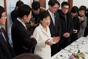 South Korean President Park Geun Hye speaking during a meeting with reporters at the Presidential Blue House in Seoul, South Korea, on Jan 1, 2017.