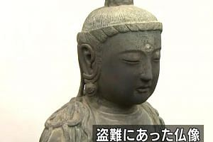 The statue was stolen by South Korean thieves from a Japanese temple five years ago. But it was allegedly plundered from Korea centuries ago.