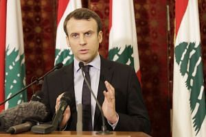 Emmanuel Macron, an independent candidate in France's presidential election in April, gives a press conference after a meeting in Beirut on Jan  24, 2017.