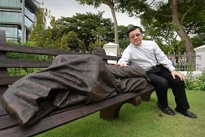 Monsignor Heng believes the Homeless Jesus sculpture is an appropriate addition to the grounds of the Cathedral of the Good Shepherd. Although the artwork can be found in Catholic and Protestant churches in some 50 cities, the one in the cathedral he