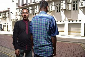 """Mr Sohag Fazlul Haque (left) and Mr S. Kumar are foreign workers who have been victims of what the Humanitarian Organisation for Migration Economics has termed """"wage theft"""". SEE HOME B2"""