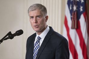 Neil Gorsuch, federal judge serving on the 10th US Circuit Court of Appeals, delivers remarks after US President Donald J. Trump announced him as his nominee for the Supreme Court.