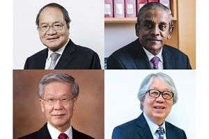 (Clockwise from top left) Attorney-General Lucien Wong, Professor S. Jayakumar, Professor Tommy Koh, and former Chief Justice Chan Sek Keong.