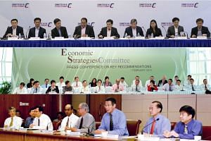 A picture collage of the Members of the Committee on the Future Economy in 2017 (top), 2010 (middle) and 2003.
