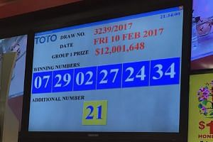 Winning numbers for the Toto Hongbao draw are announced at around 9.30pm on Friday, Feb 10, 2017.
