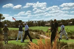 Trump shared a photo of the two leaders on the golf course on social media.