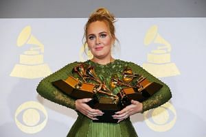 Adele won five awards, including album of the year for 25 and both record and song of the year for the hit song Hello.