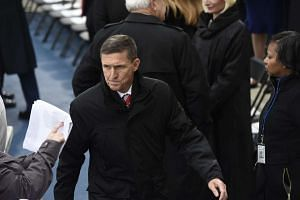 US National Security Advisor Michael Flynn arrives at the US Capitol on Jan 20, 2017.