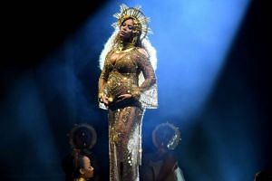 Beyonce put on a dazzling performance of Love Drought and Sandcastles, with her pregnant belly highlighted for the camera.