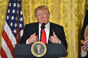 US President Donald Trump speaks during a press conference on Feb 16, 2017, at the White House in Washington, DC.